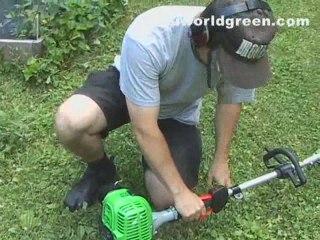Using a grass trimmer, consider propane