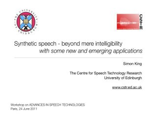 Advances in Speech Technologies | IRCAM | Simon King
