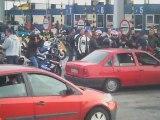 Protest motocyklistów - korek przy bramkach