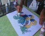 Peinture abstraite faite directement à la main par Tronet M.
