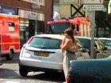 accident une Clio percute une R 19 sur le toit