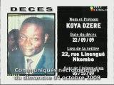 Communiqués nécrologiques du 04-10-09