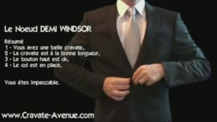 Le noeud de cravate DEMI WINDSOR - Noeud de cravate