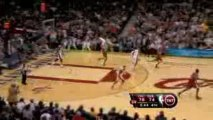 NBA Shaquille O'Neal blocks Brad Miller's shot away from the