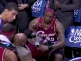 NBA LeBron James hurt his left wrist by banging it on the ba