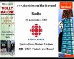 Renaud Radio Canada 23/11/2009 promo Molly Malone