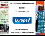 Renaud Europe 1 24//11/2009 Studio promotion Molly Malone