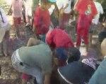 5-vendanges CE1 : les enfants écrasent le raisin (25 09 09)