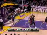 NBA Kobe Bryant finds a trailing Pau Gasol in the paint for