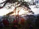 couche de soleil sur les Vosges du Nord en VTT