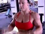 Cindy Phillips in contest shape at the gym