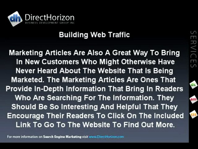 Search Engine Marketing | How Marketing Articles Build Page