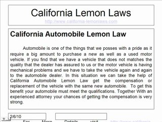 Lemon Law California >> Prtection Of Consumer Rights With California Lemon Law
