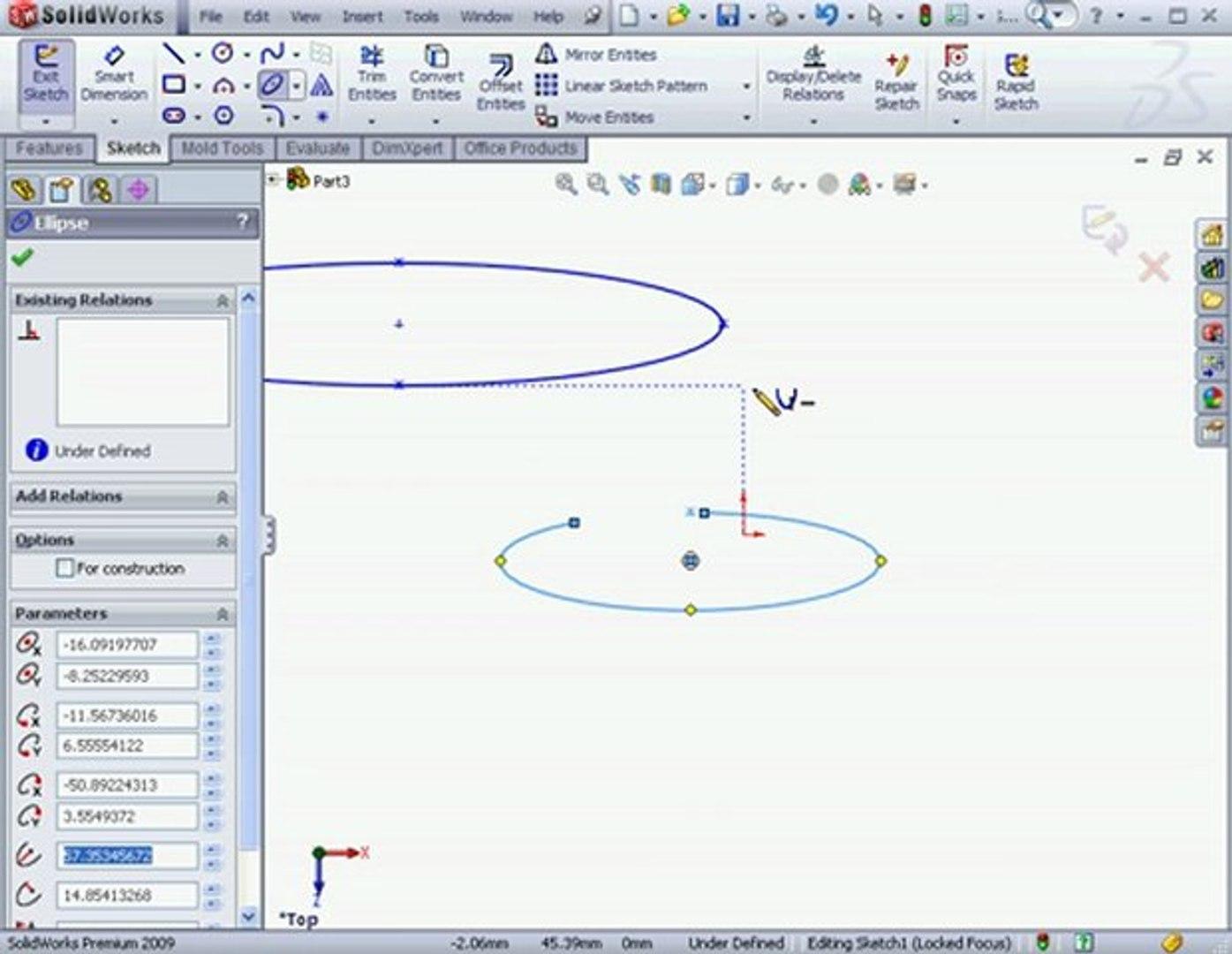 SolidWorks Tutorials Ellipse Tool