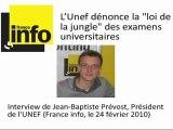 """J-B Prévost (Unef) dénonce la """"loi de la jungle"""" des examens"""