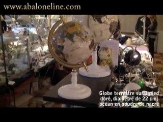 Globe terrestre sur 1 pied Doré Nacre