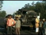 Maoist Arsonists Torch Trucks in Eastern India