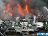 Violent incendie dans une casse à Saint-Etienne