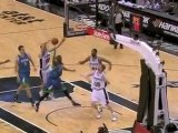 Manu Ginobili helps out on defense and gets the block on Cor