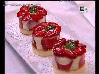 Dessert de creme et fraises