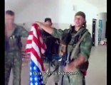 Russian Army Members trample and burn United States flag