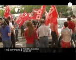 Spanish public workers strike over salary cuts - no comment