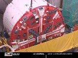 La roue de coupe installée sur le chantier du métro B (Lyon)