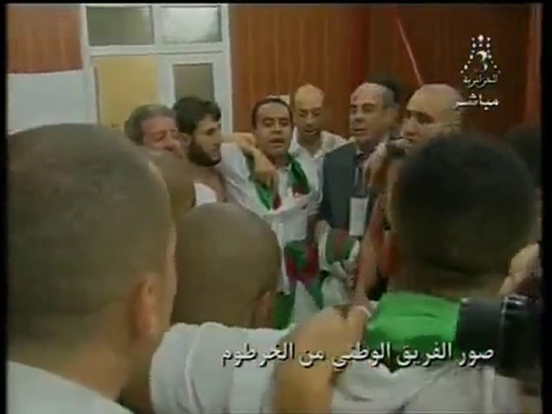 ALGERIE La joie des joueurs après le match Algerie/Egypte