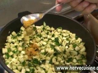 Filet mignon miel et épices, dés de courgettes au curry