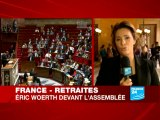 France - Retraites : Eric Woerth devant l'Assemblée