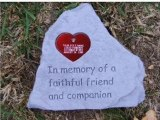 Pet Memorial Stone with Engraved Heart Tag-Deluxe