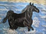 """tableau""""cheval au grés des vagues"""