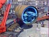 Bordeaux, mise en place d'un tunnelier sur le chantier d'assainissement de la ville