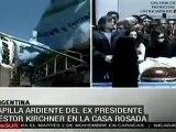 La Presidenta de Argentina, Cristina Fernández, recibe condolencias del amigos y pueblo