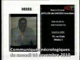 Communiqués nécrologiques du 06-11-10