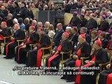 Benedict al XVI-lea: Cardinalii îl sprijină pe Papa