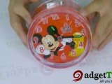 J02017-Cartoon Mouse Round Alarm Clock with Night Light Red