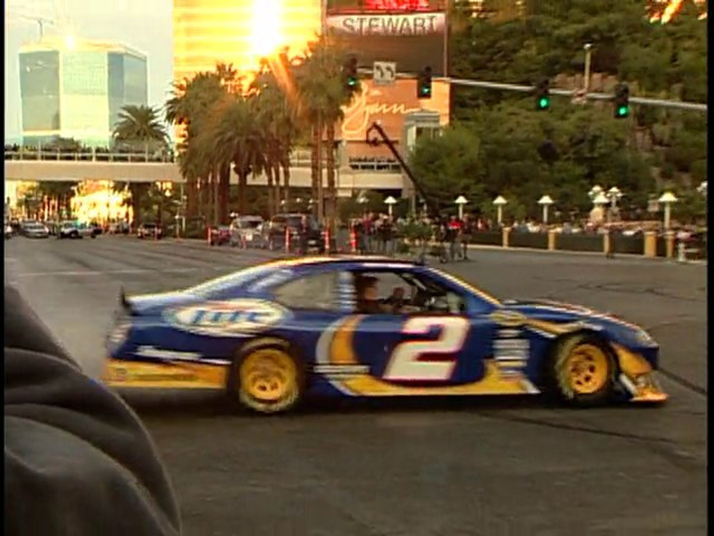 Jimmie Johnson burns rubber on the Las Vegas Strip
