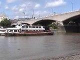 London walk along the River Thames at low tide.