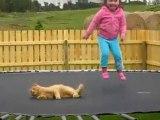Déborah And Kitten - Playing In Trampoline
