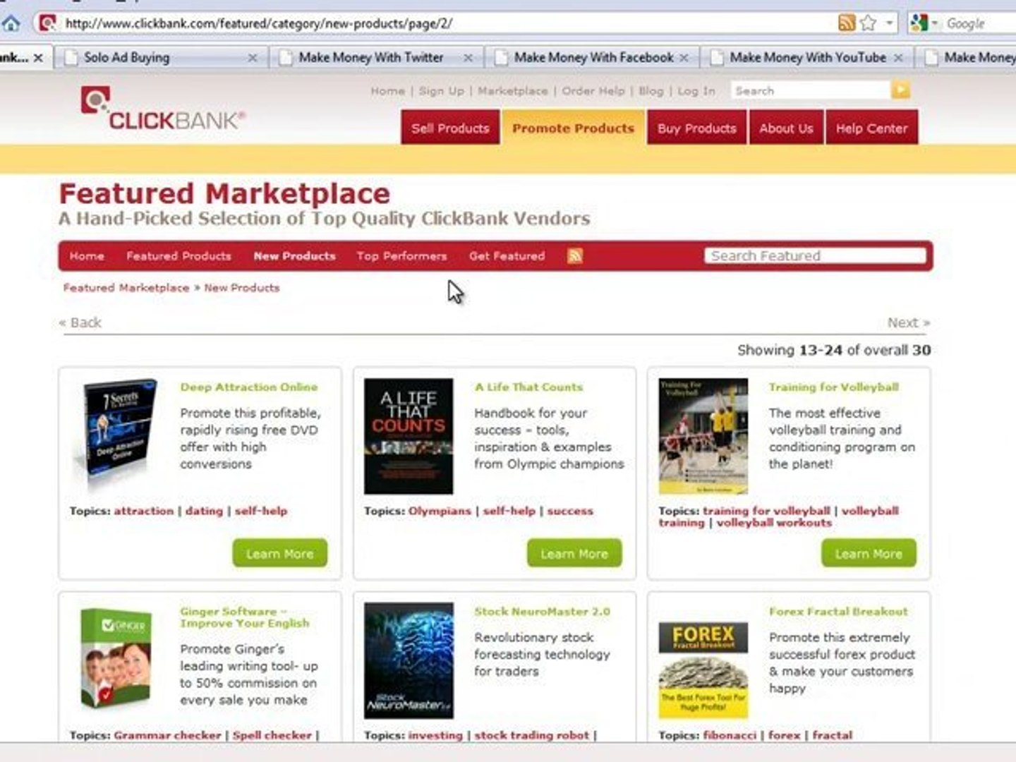 Getting Clickbank Products