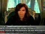 Ultiman detalles para reunión entre Cristina Fernández y Dilma Rousseff