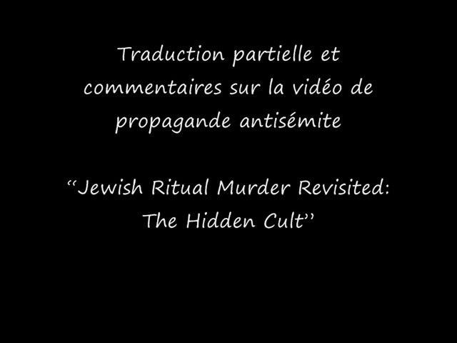 Source de l'antisémitisme: Jewish ritual murder revisited