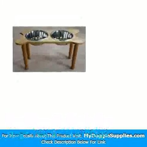2 Bowl Bone Shaped Pet Diner Size  Small  Finish  Natural