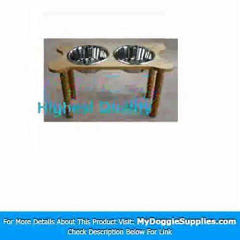 2 Bowl Bone Shaped Pet Diner Size  X-Large  Finish  Cherry