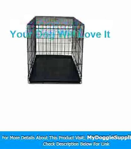 24 quot  Pet Folding Dog Cat Crate Cage Kennel w ABS Tray