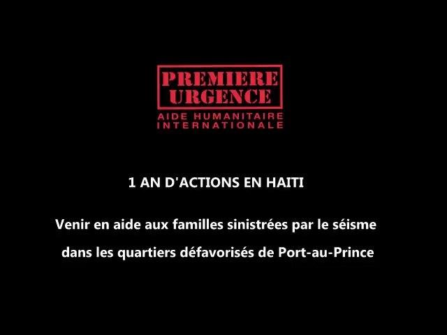 Première Urgence : Un an d'action en Haïti
