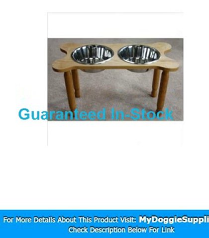 2 Bowl Bone Shaped Pet Diner Size  Medium  Finish  Natural