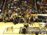 Human slam dunk in slo-mo
