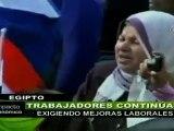 Trabajadores egipcios continúan exigiendo mejoras laborales